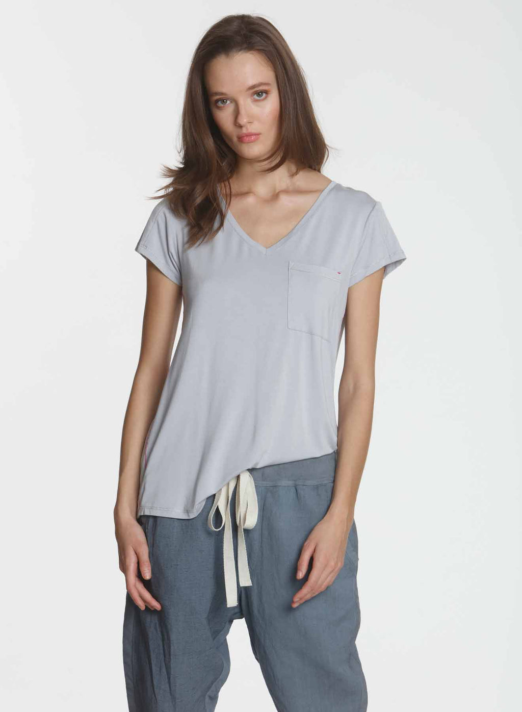 Simply Soft Pocket Tee - Silver