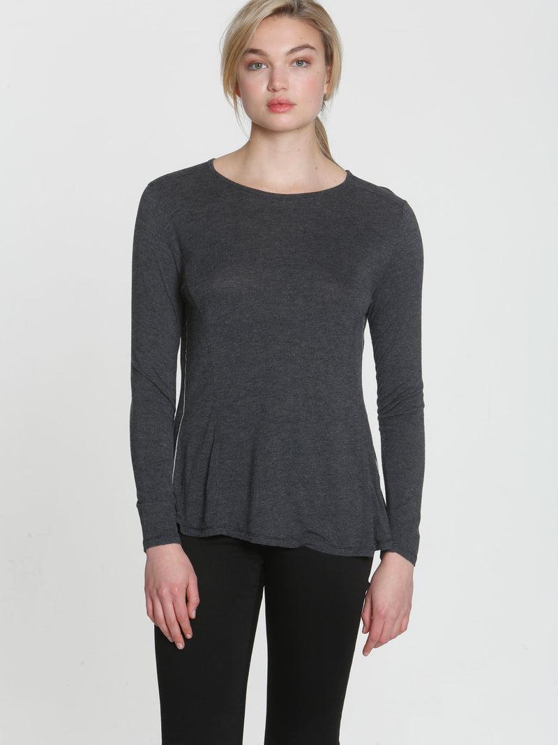 Simply Soft LS Tee - Charcoal