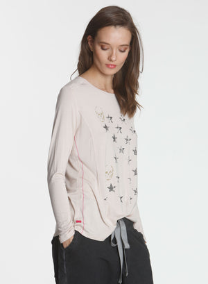 Graphic LS Tee Mini Skull - Dune