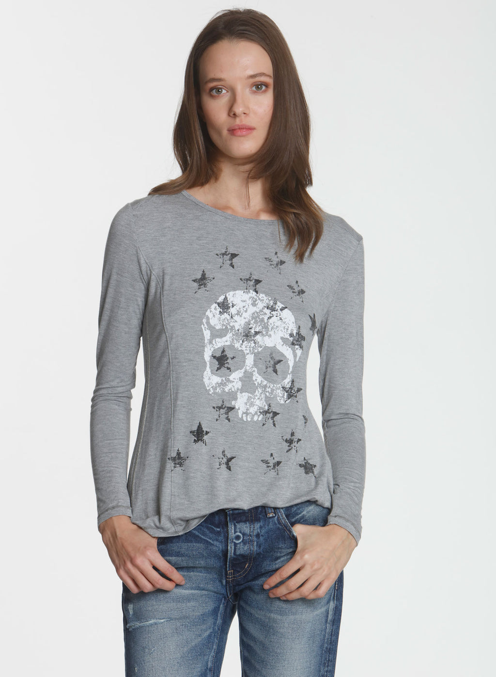 Graphic LS Tee Skull - Grey