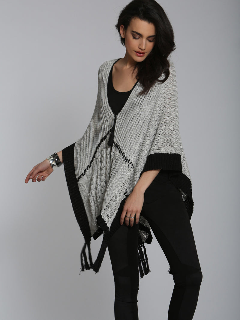 Patchwork Poncho - Grey