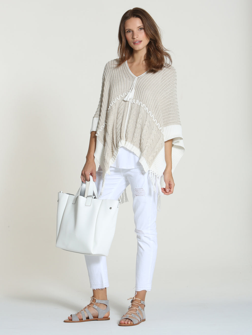 Patchwork Poncho - Sand