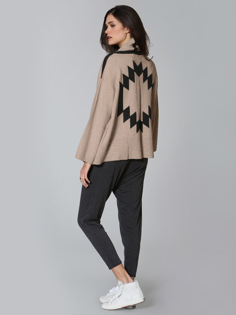 Tribal Shawl Cardigan - Taupe