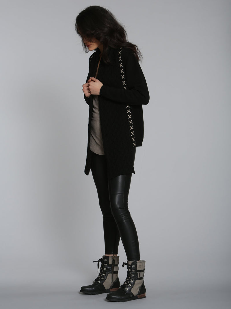 City Cable Scarf Cardigan - Black