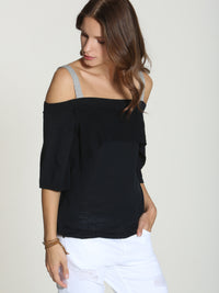 Off Shoulder Ruffle - Black