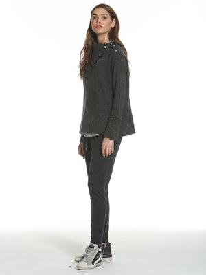 Cable Cuff Button Neck - Charcoal