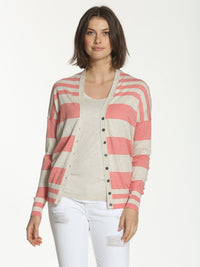 Striped Cotton Cardigan - Coral