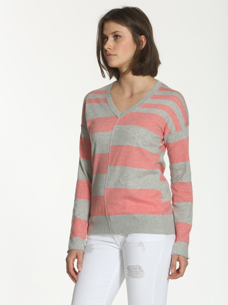 Striped Seamed V-Neck - Grey