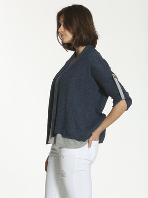 Tab Sleeve Cardigan - Navy