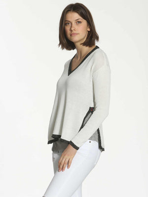 Tweed Trim Tunic - White