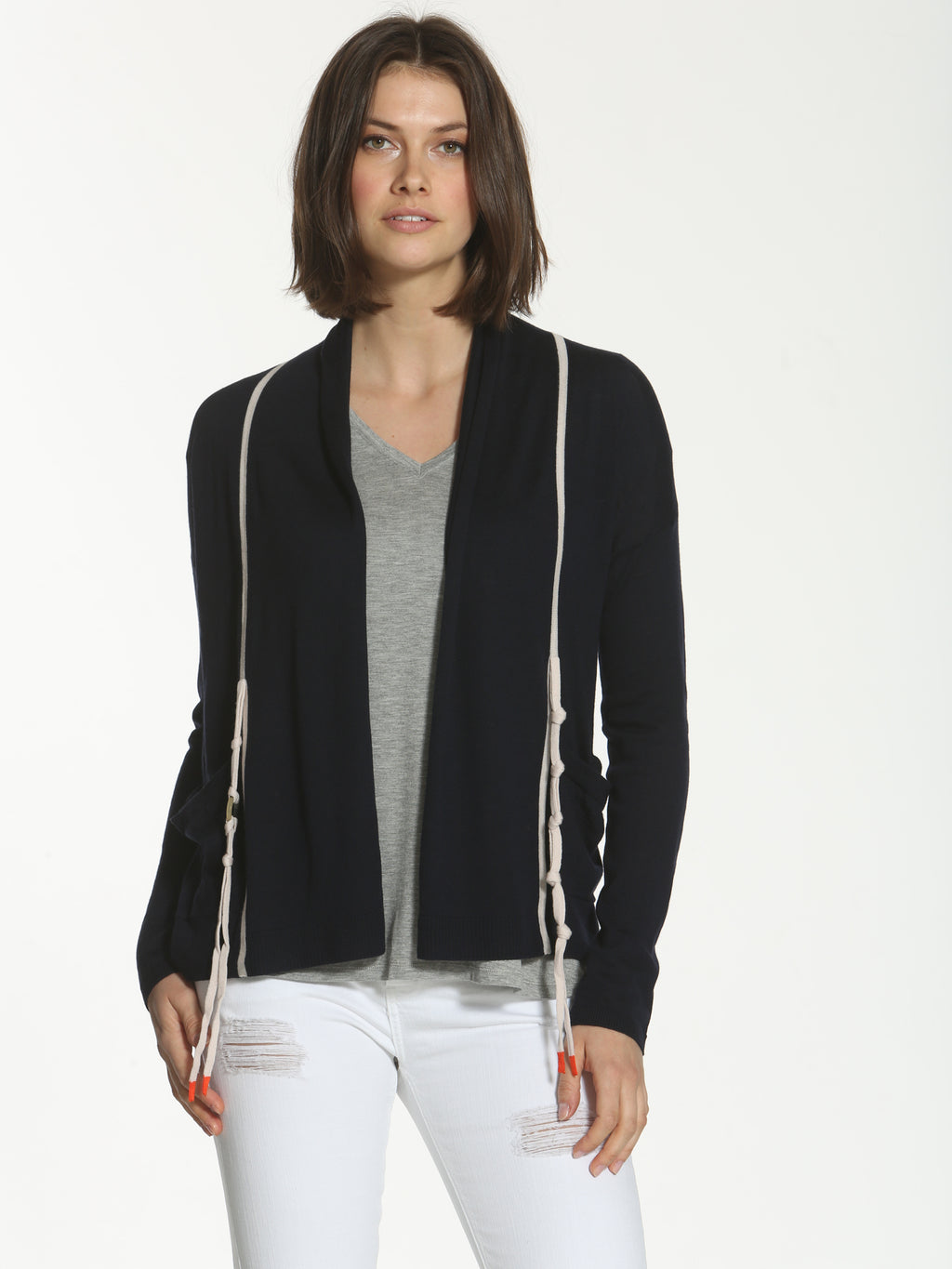 Ring Tie Cardigan - Navy