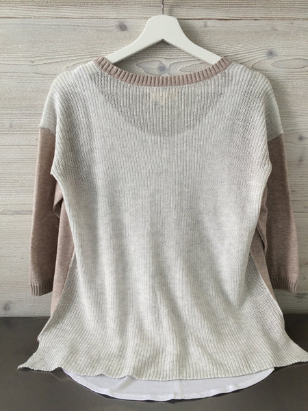 Rib Back V Neck - Nude