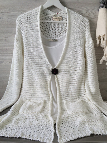 Leather Button Cardigan - White