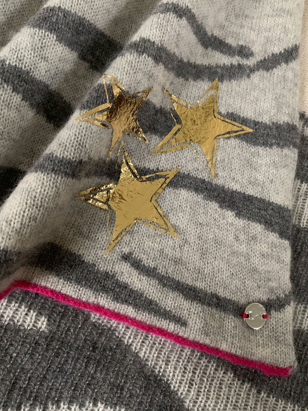 Lined Stars Charm - Gold