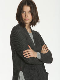 Slouchy Cable Cardigan - Charcoal