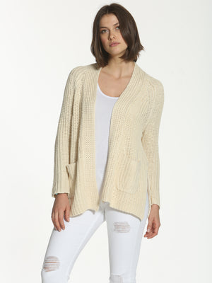 Slouchy Cable Cardigan - Oatmeal