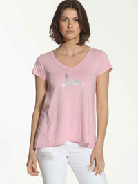 V Neck Shine Tee - Rose