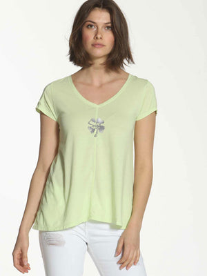 V Neck Clover Tee - Green