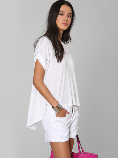 Back Vented Tee - White