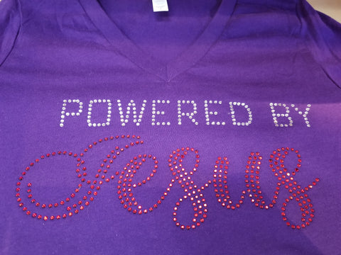 Powered by Jesus Rhinestone V-Neck Tee