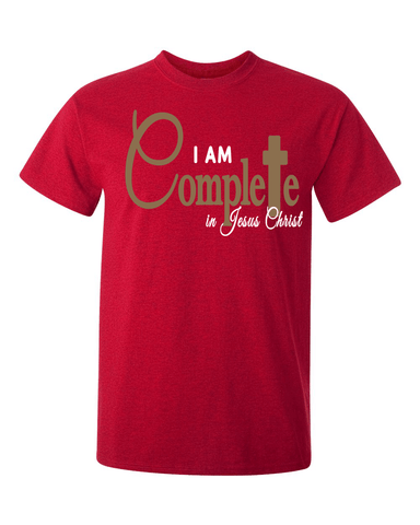 I Am Complete in Christ Men's Christian T-Shirt - Small / Antique Cherry - Christian T-Shirt | Christian Gifts | Christian Apparel - 1