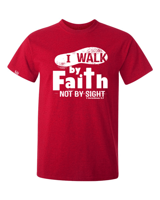 Walk by Faith Men's Crew Neck Tee - Small / Antique Cherry - Christian T-Shirt | Christian Gifts | Christian Apparel - 1