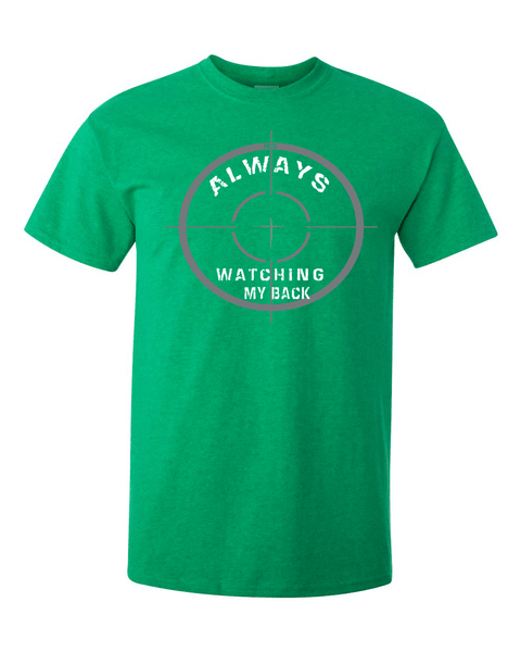 He's Always Watching My Back Men's Christian T-Shirt - Small / Antique Green - Christian T-Shirt | Christian Gifts | Christian Apparel - 3