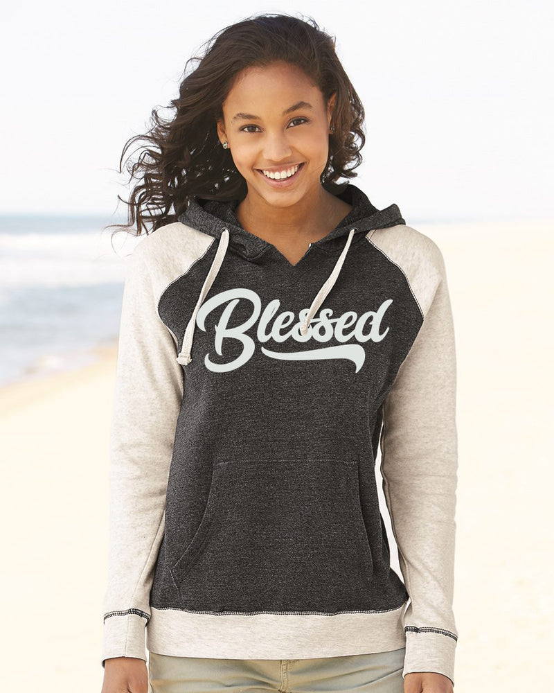 Blessed Raglan Hooded Pulllover Sweatshirt
