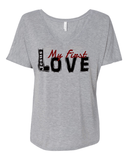 Jesus:  My First Love Ladies' Slouchy V-Neck Christian T-Shirt - S / Athletic Heather - Christian T-Shirt | Christian Gifts | Christian Apparel - 2