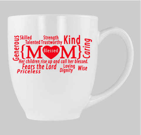 Blessed Mom Collection 14 oz. Bistro Mug - White - Christian T-Shirt | Christian Gifts | Christian Apparel - 1