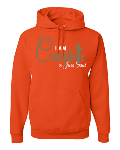 I Am Complete Hooded Sweatshirt - Small / Burnt Orange - Christian T-Shirt | Christian Gifts | Christian Apparel - 1