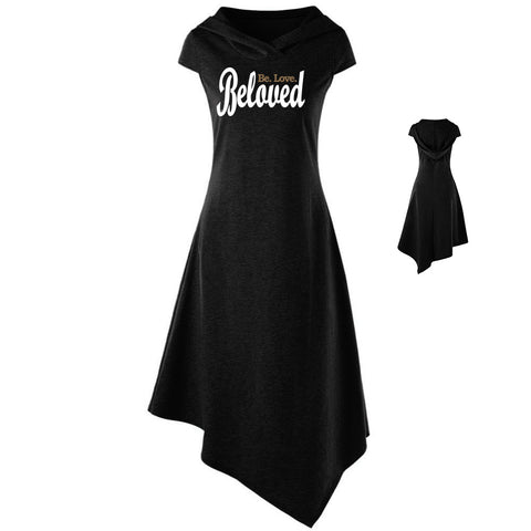 Beloved. Be. Love. Hooded Cap Sleeve Summer Dress
