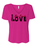 Jesus:  My First Love Ladies' Slouchy V-Neck Christian T-Shirt - S / Berry - Christian T-Shirt | Christian Gifts | Christian Apparel - 1