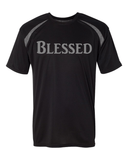 Blessed Mens Performance Christian T-Shirt - Small / Black/Steel - Christian T-Shirt | Christian Gifts | Christian Apparel - 1