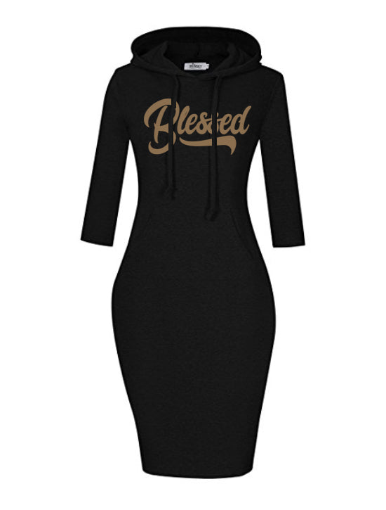 Blessed Women's Hooded Dress (3/4 Sleeve)