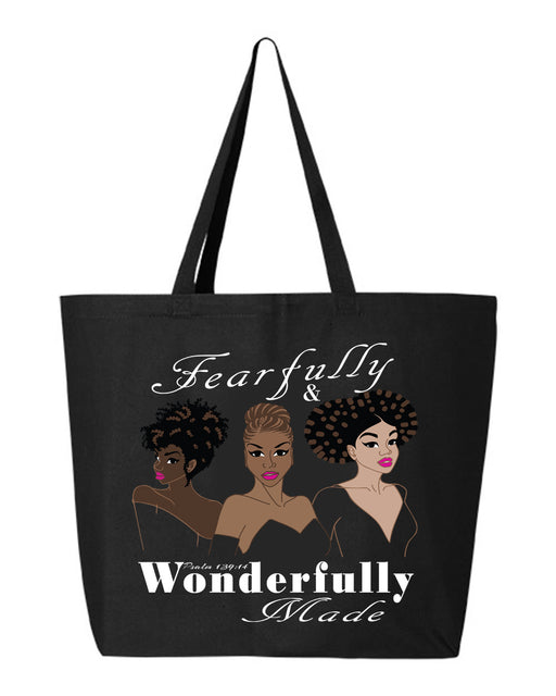 Fearfully and Wonderfully Made II Jumbo Canvas Tote