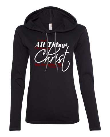 I Can Do All Things Through Christ Womens Lightweight Long-Sleeve Hooded Tee - Small / Black - Christian T-Shirt | Christian Gifts | Christian Apparel - 1