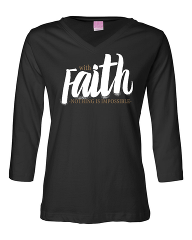 With Faith Womens' 3/4 Sleeve (V-Neck) Jersey T-Shirt