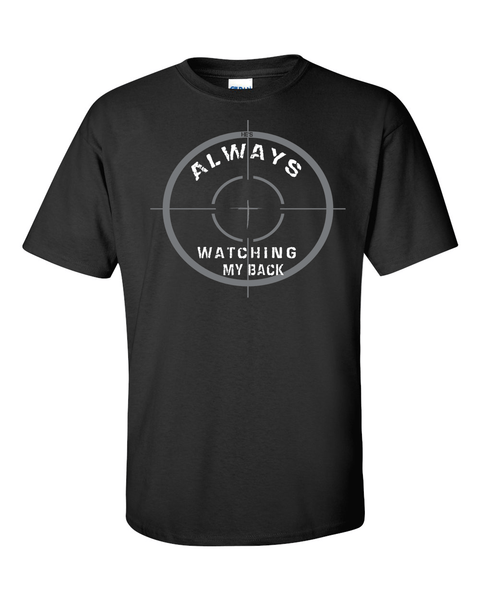 He's Always Watching My Back Men's Christian T-Shirt - Small / Black - Christian T-Shirt | Christian Gifts | Christian Apparel - 4