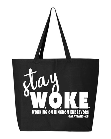Stay Woke Jumbo Canvas Tote