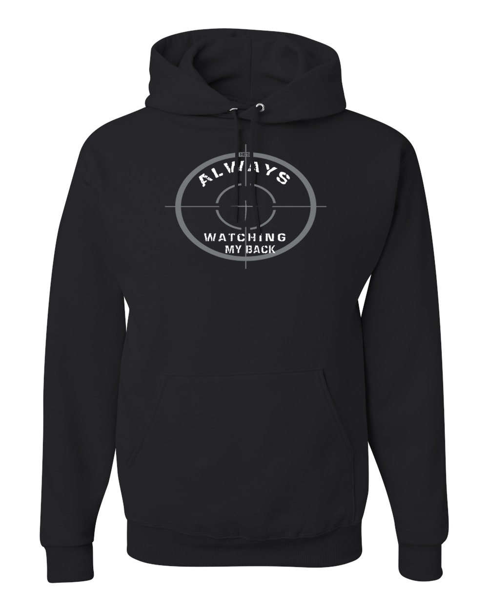 He's Always Watching My Back Hooded Sweatshirt - Small / Black - Christian T-Shirt | Christian Gifts | Christian Apparel - 1