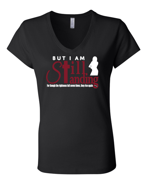 Still Standing Women's V-Neck Tee - Small / Black - Christian T-Shirt | Christian Gifts | Christian Apparel - 1