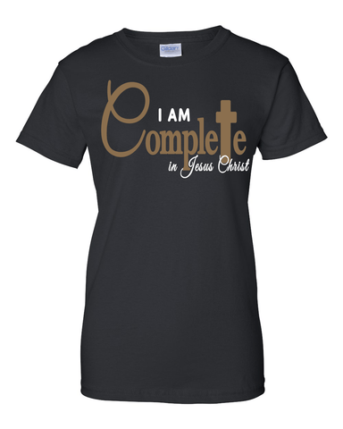 I Am Complete in Christ Women's Christian T-Shirt - Small / Black - Christian T-Shirt | Christian Gifts | Christian Apparel - 1