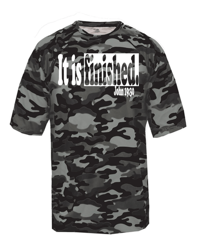 It is Finished Mens Camo Christian T-Shirt - Small / Black - Christian T-Shirt | Christian Gifts | Christian Apparel - 1