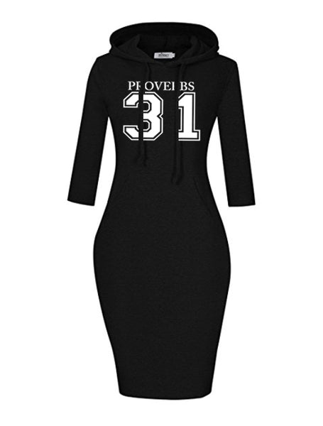 Proverbs 31 Women's Hooded Dress (3/4 Sleeve)