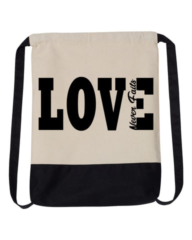 Love Never Fails Drawstring Backpack