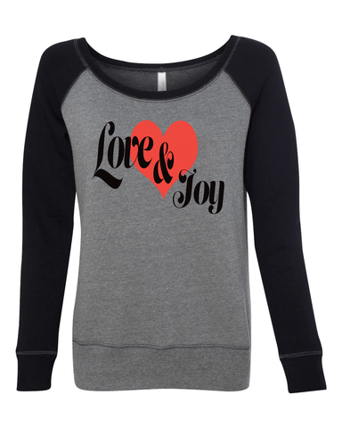 Love & Joy Long Sleeve (Wide Neck) Christian Sweatshirt - Small / Black/Heather - Christian T-Shirt | Christian Gifts | Christian Apparel - 1