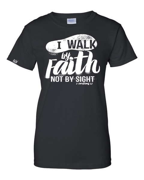 Walk by Faith Women's Classic Fit T-Shirt - Small / Black - Christian T-Shirt | Christian Gifts | Christian Apparel - 1