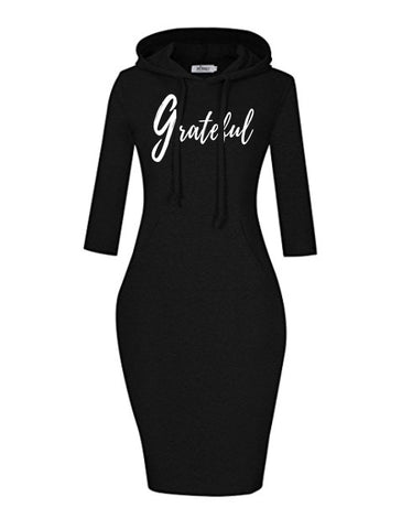 Grateful Women's Hooded Dress (3/4 Sleeve)