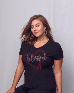 Blessed Indeed Rhinestone V-Neck Tee